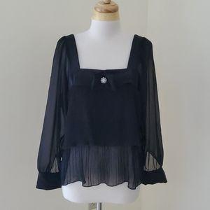 NWT! Zara small pleated long sleeve blouse.
